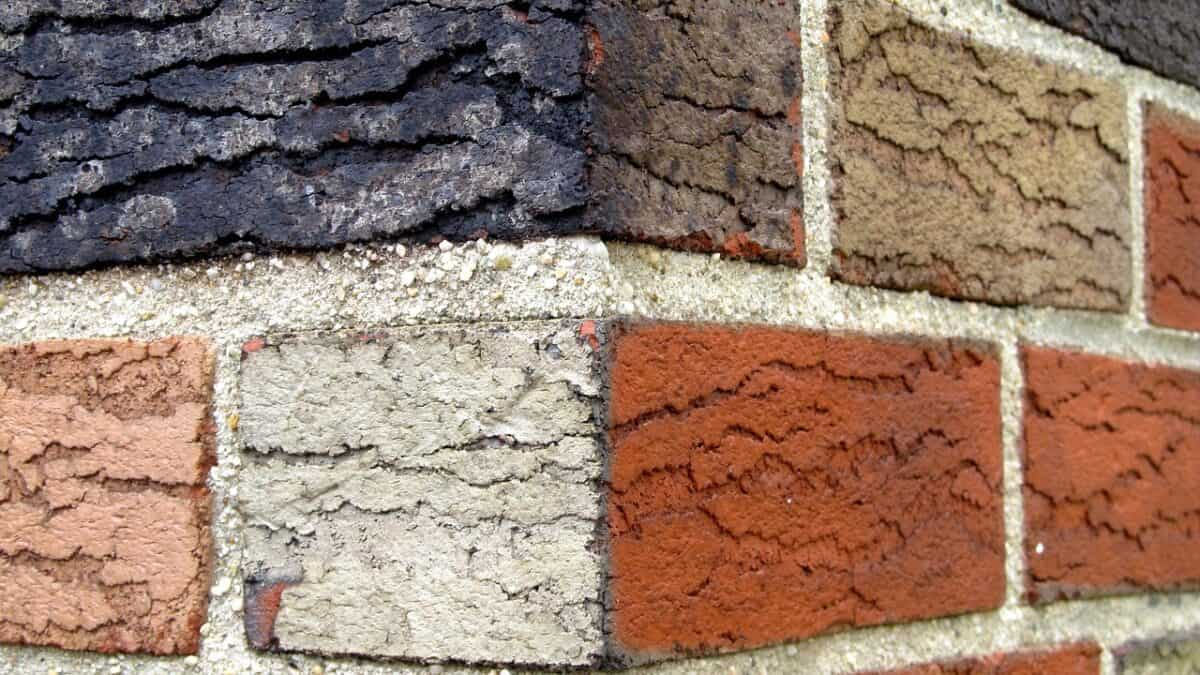 blue and red bricks with white mortar