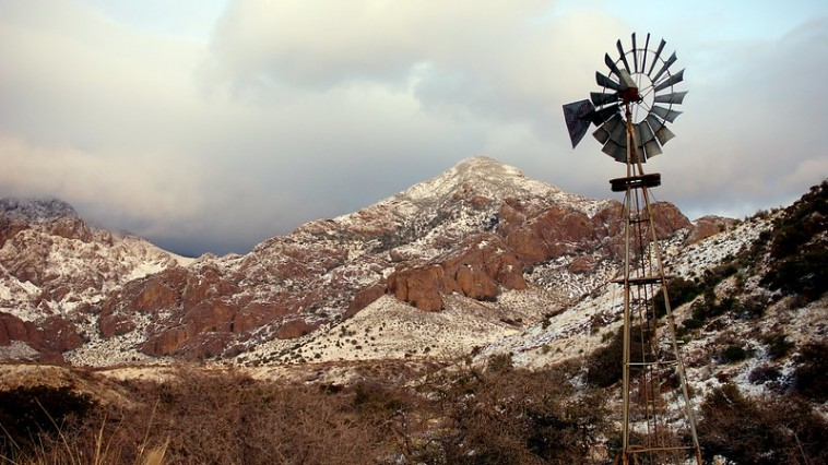 windmill and mountains